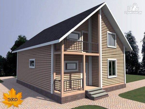 Фото 3: проект каркасный дом с балконом и террасой