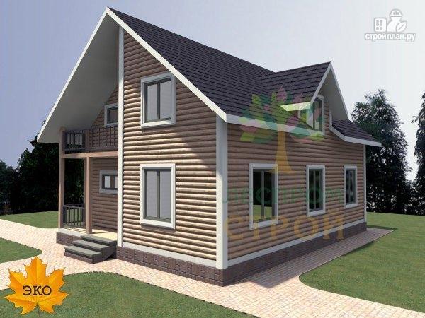 Фото: проект каркасный дом с балконом и террасой