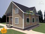 Проект каркасный дом с балконом и террасой