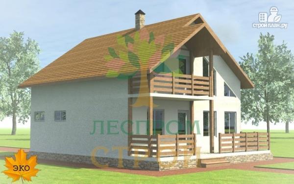 Фото 3: проект каркасный дом с широкой террасой и вторым светом в гостиной