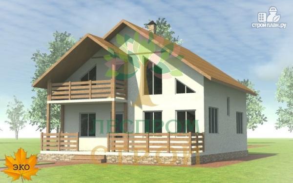 Фото: проект каркасный дом с широкой террасой и вторым светом в гостиной