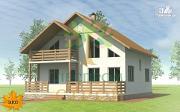 Проект каркасный дом с широкой террасой и вторым светом в гостиной
