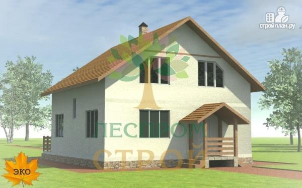 Фото 2: проект каркасный дом с широкой террасой и вторым светом в гостиной