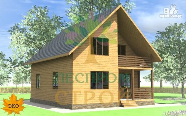 Фото 4: проект каркасный дом с террасой и балконом