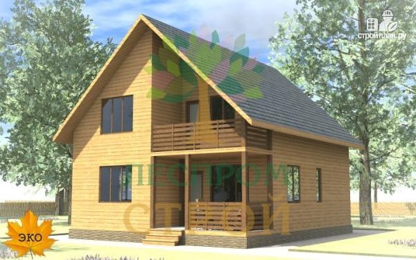 Фото: проект каркасный дом с террасой и балконом