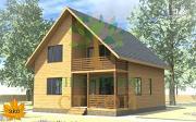 Проект каркасный дом с террасой и балконом