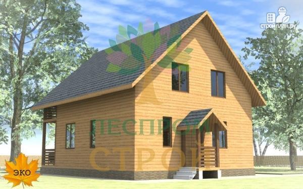 Фото 2: проект каркасный дом с террасой и балконом