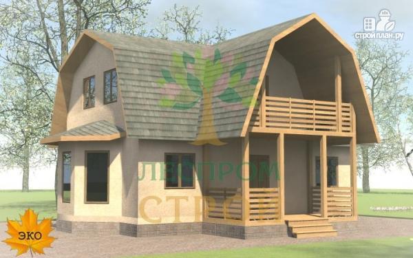 Фото: проект дом с эркером, балконом и террасой