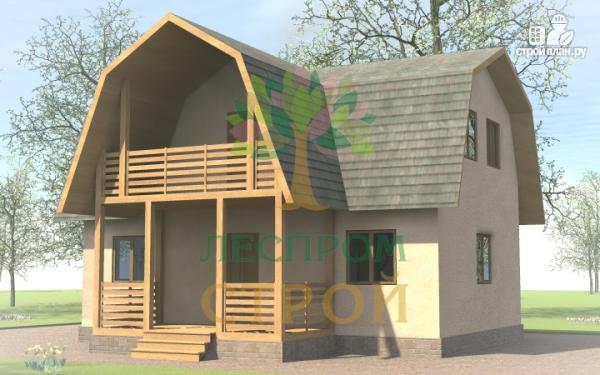 Фото 2: проект дом с эркером, балконом и террасой