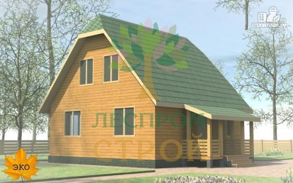 Фото 3: проект каркасный дом 8х8 с крыльцом