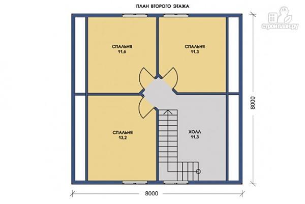 Фото 6: проект каркасный дом 8х8 с крыльцом