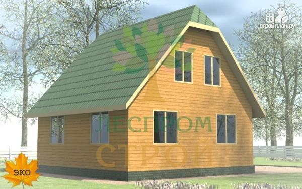 Фото 2: проект каркасный дом 8х8 с крыльцом