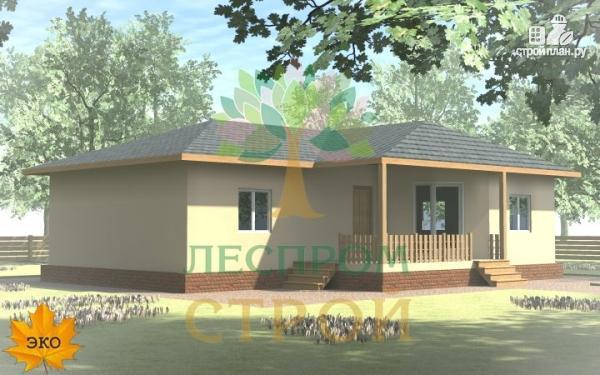 Фото 2: проект одноэтажный каркасный дом с террасой