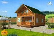 Фото: каркасный дом с террасой и балконом