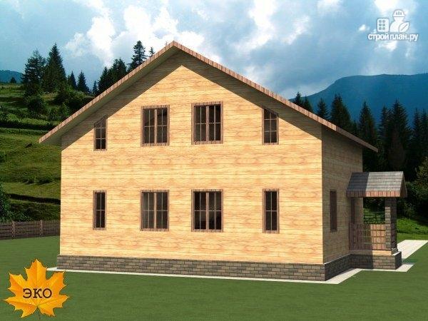 Фото 3: проект каркасный дом 10х10 с балконом и крыльцом