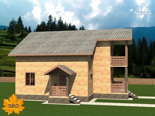 Фото 2: проект каркасный дом 10х10 с балконом и крыльцом