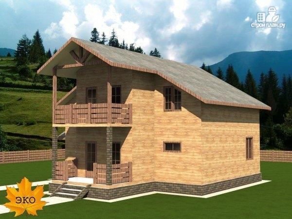 Фото: проект каркасный дом 10х10 с балконом и крыльцом