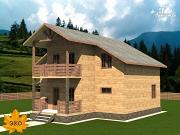 Проект каркасный дом 10х10 с балконом и крыльцом
