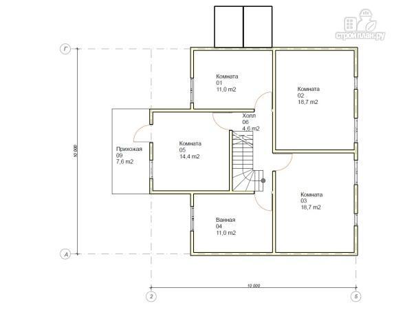 Фото 5: проект каркасный дом 10х10 с балконом и крыльцом