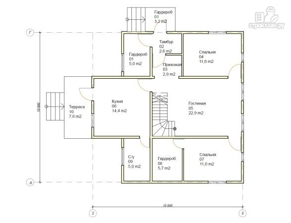 Фото 4: проект каркасный дом 10х10 с балконом и крыльцом
