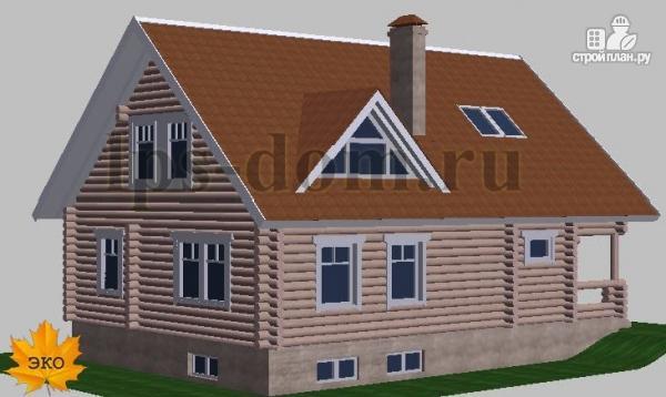 Фото 3: проект дом из бревна с цоколем и мансардой