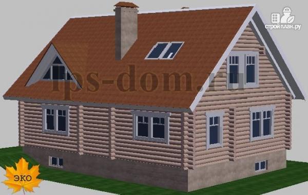 Фото 4: проект дом из бревна с цоколем и мансардой