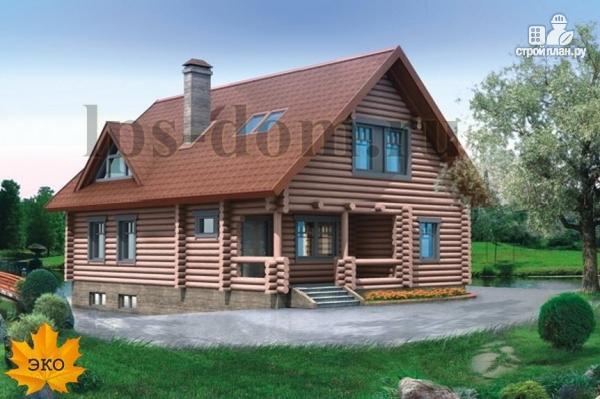 Фото: проект дом из бревна с цоколем и мансардой