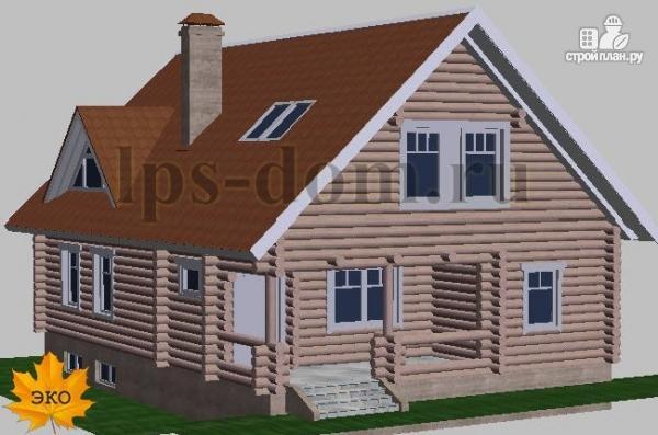 Фото 2: проект дом из бревна с цоколем и мансардой