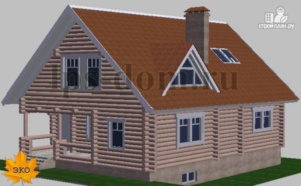 Фото 5: проект дом из бревна с цоколем и мансардой