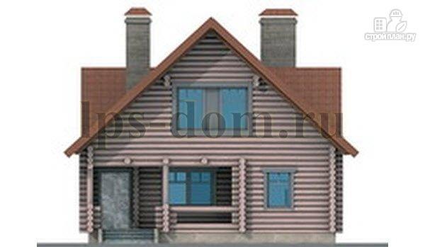 Фото 8: проект дом из бревна с цоколем и мансардой