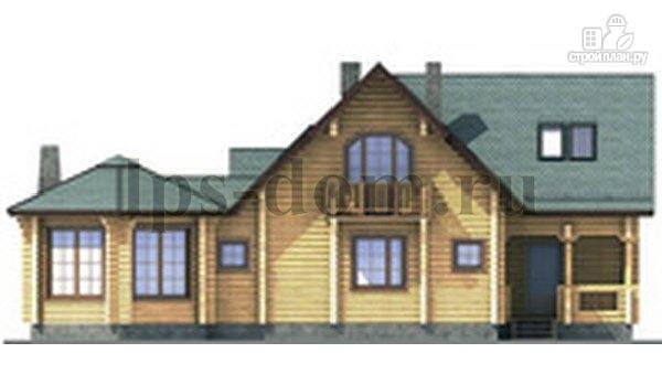 Фото 6: проект дом из бревна с камином на веранде