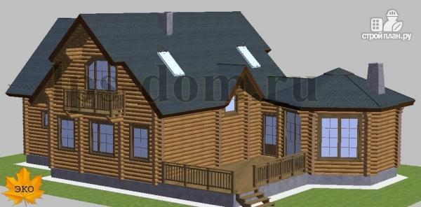 Фото 4: проект дом из бревна с камином на веранде