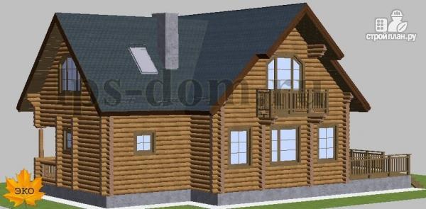 Фото 5: проект дом из бревна с камином на веранде