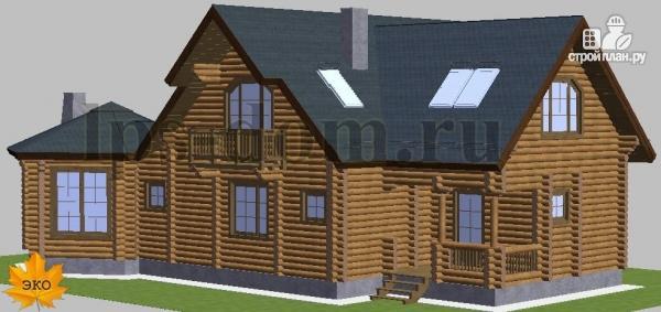 Фото 2: проект дом из бревна с камином на веранде