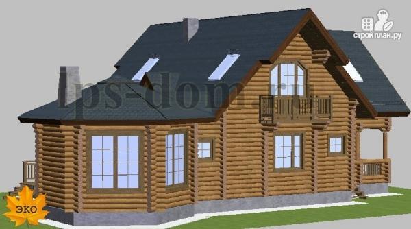 Фото 3: проект дом из бревна с камином на веранде