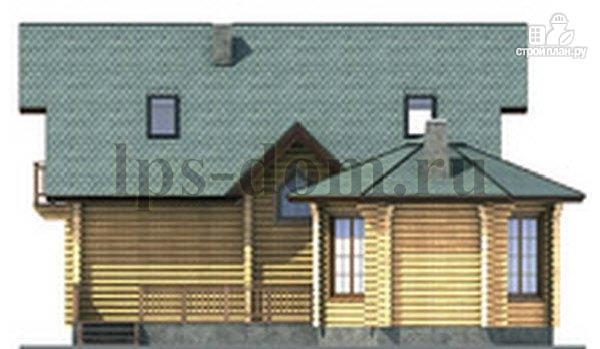 Фото 9: проект дом из бревна с камином на веранде