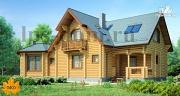 Проект дом из бревна с камином на веранде