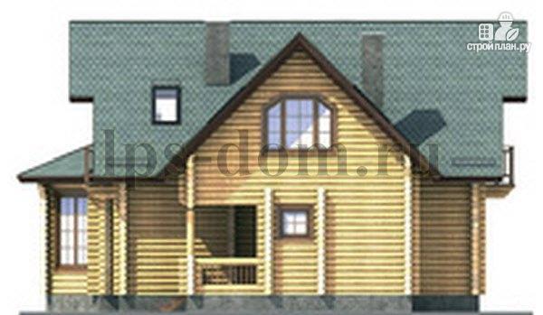 Фото 8: проект дом из бревна с камином на веранде