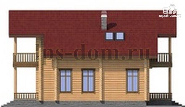 Фото 8: проект дом из бревна с угловой террасой и балконом