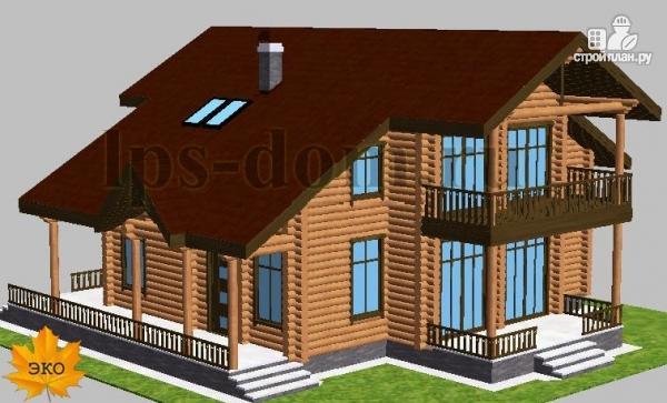 Фото 4: проект дом из бревна с угловой террасой и балконом