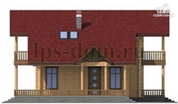 Фото 7: проект дом из бревна с угловой террасой и балконом