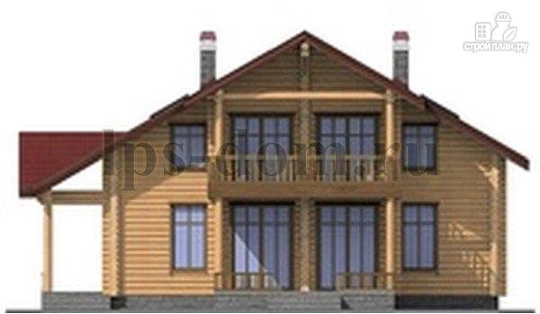 Фото 6: проект дом из бревна с угловой террасой и балконом