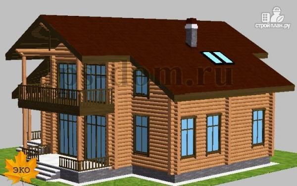 Фото 3: проект дом из бревна с угловой террасой и балконом