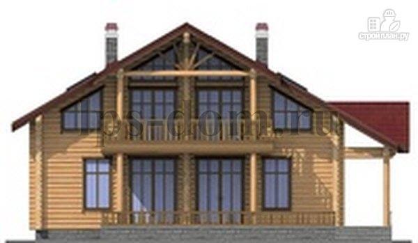 Фото 5: проект дом из бревна с угловой террасой и балконом