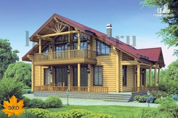 Фото: проект дом из бревна с угловой террасой и балконом