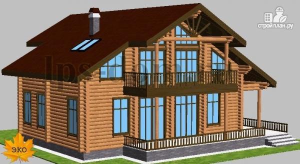 Фото 2: проект дом из бревна с угловой террасой и балконом