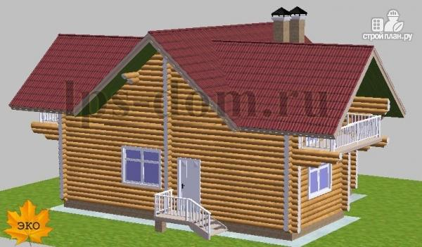 Фото 4: проект дом из бревна с большой и светлой гостиной