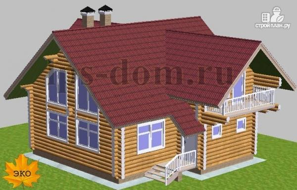 Фото 2: проект дом из бревна с большой и светлой гостиной