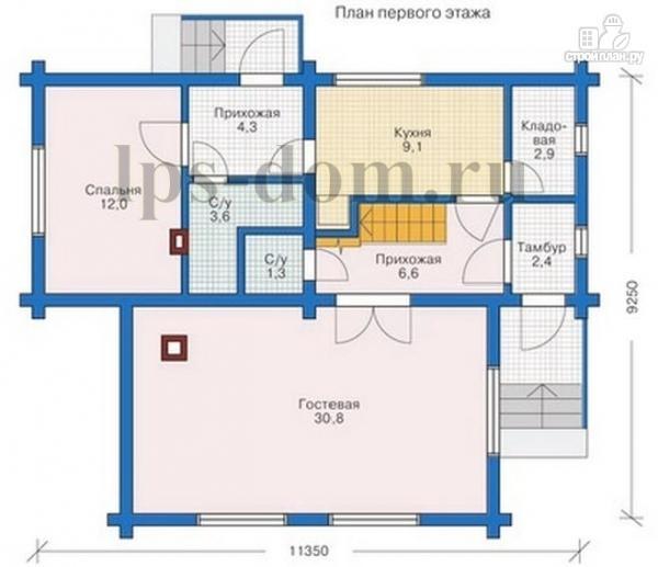 Фото 10: проект дом из бревна с большой и светлой гостиной