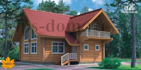 Фото: проект дом из бревна с большой и светлой гостиной